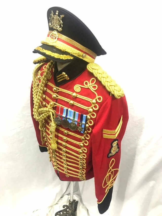 "5pcs Men's Ceremonial Gold Braiding Hussar Jacket Red/Black in 42"",44"" 46"" Aiguillette ,Epaulettes,Hat ,Hand embroidered Badge ,Chevrons,"