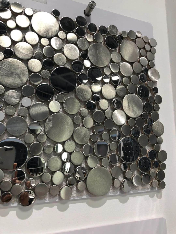 3d penny round glossy silver metal mosaic tile backsplash etsy