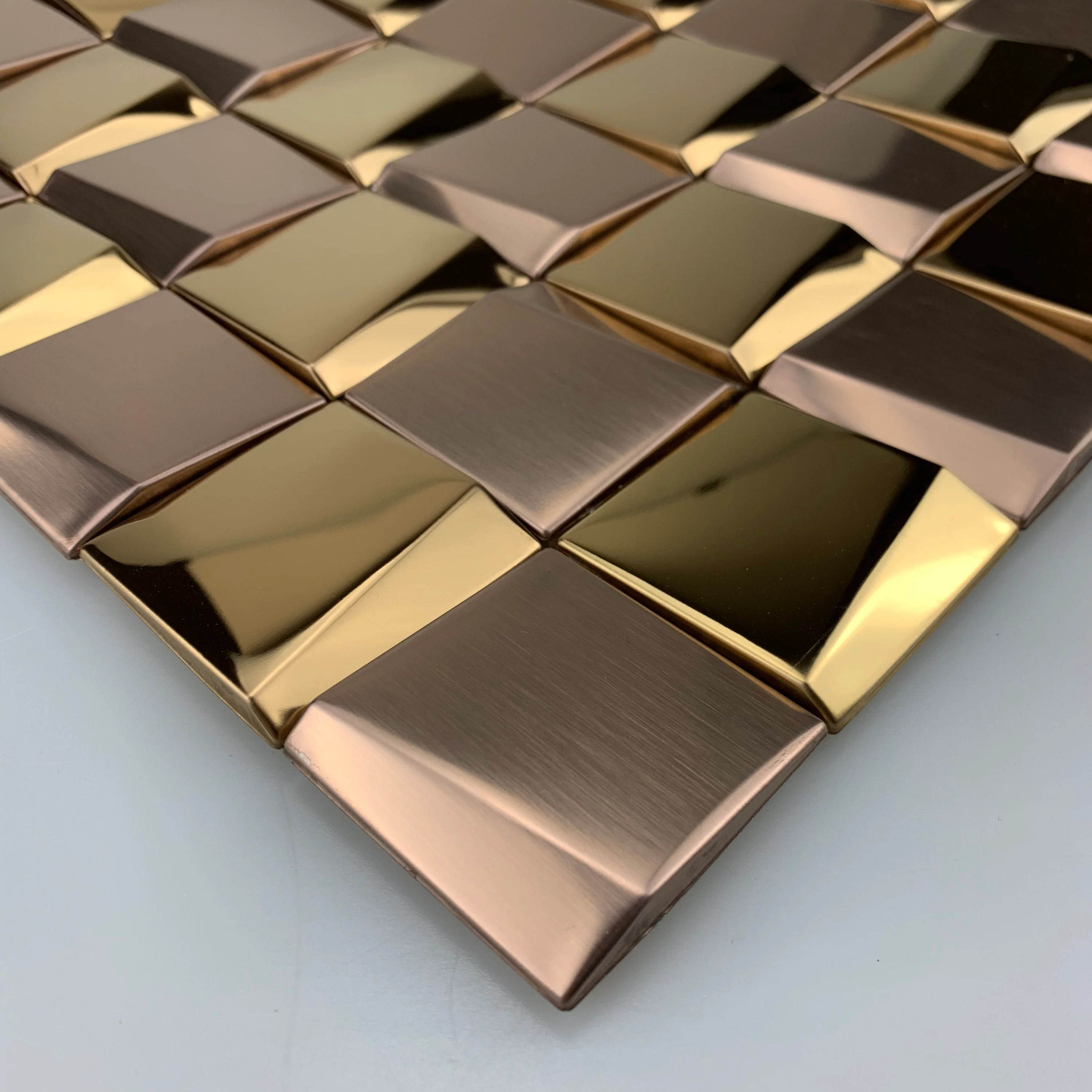 3d art metal mosaic glossy rose gold stainless steel wall tile etsy