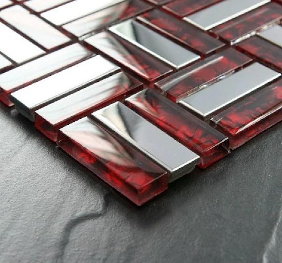 red glass mosaic silver metal tile backsplash stainless steel etsy