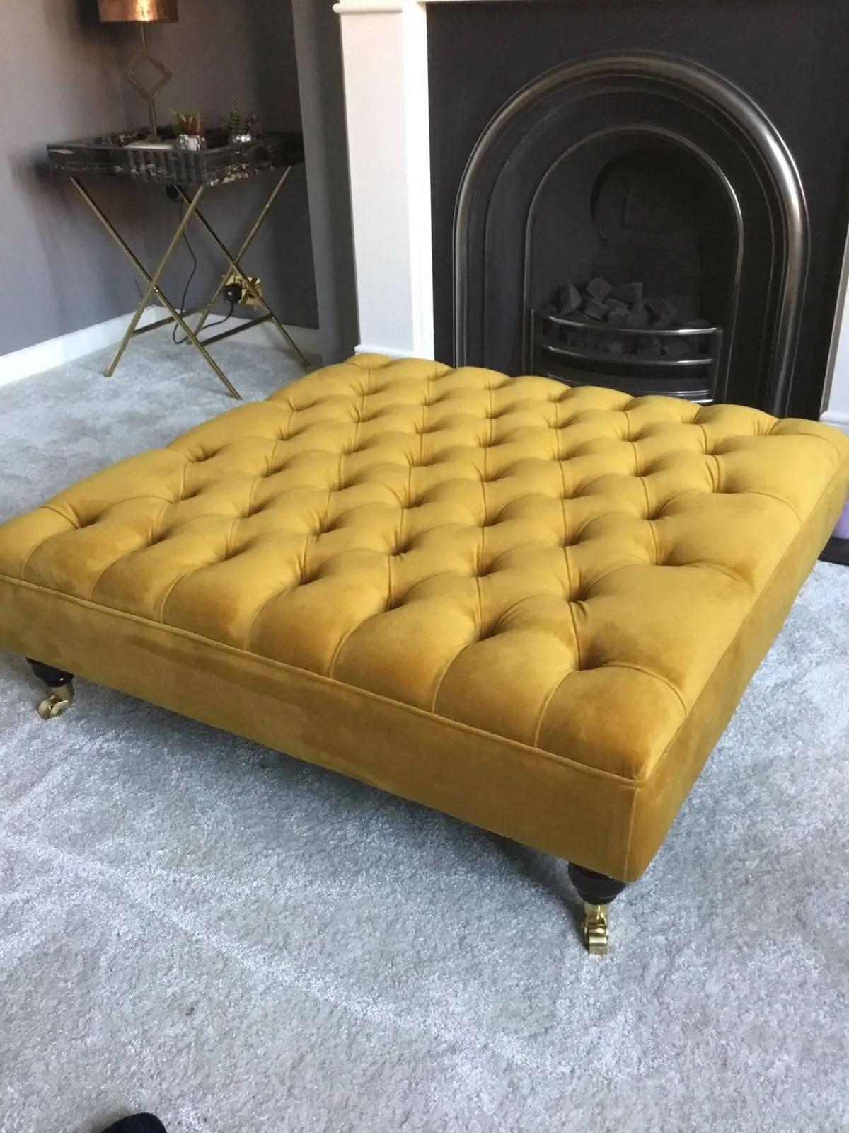 extra large tumeric footstool coffee table ottoman plush velvet turmeric various colours upholstered stool tufted pouffe