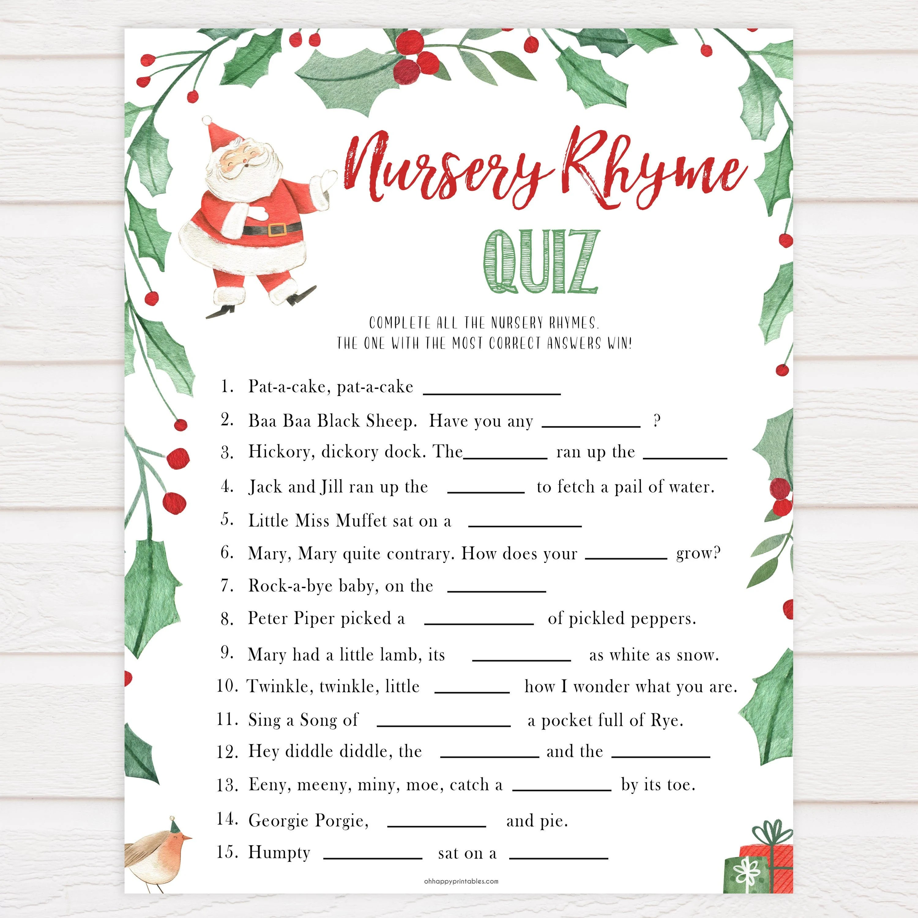 Christmas Nursery Rhyme Quiz Baby Shower Games Guess