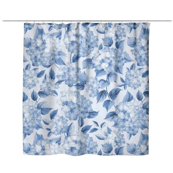 blue hydrangea flowers shower curtain vintage floral shower curtains blue bath curtain farmhouse bathroom decor