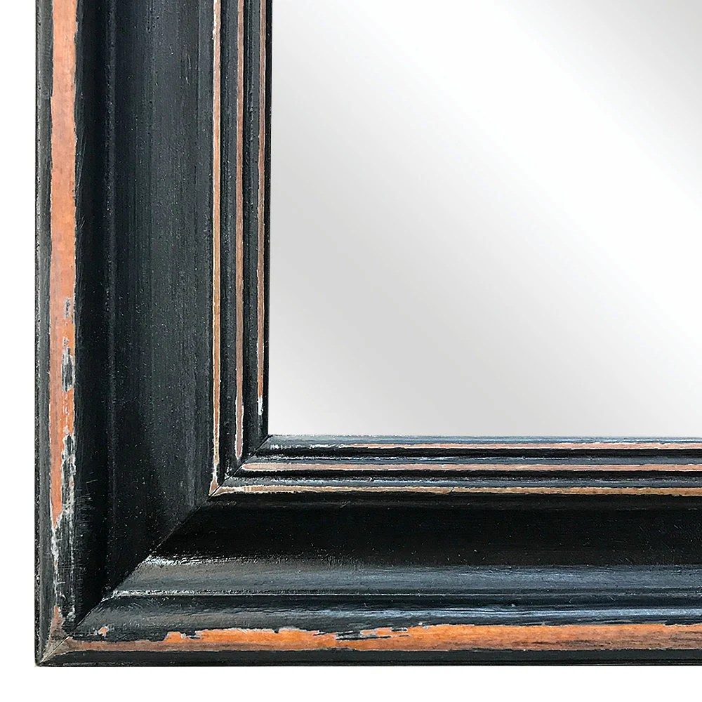 shabby chic mirror with black distressed scoop frame 280x330mm