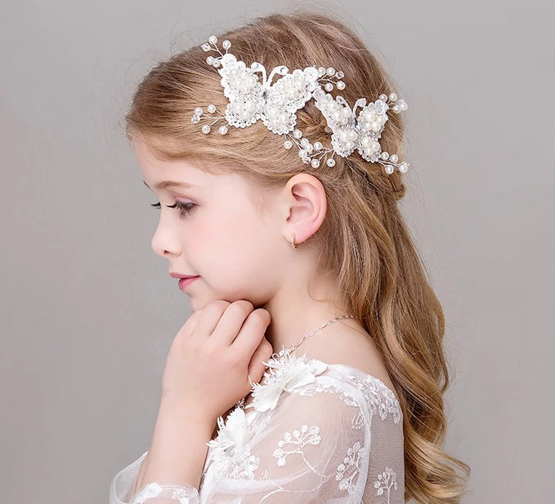 butterfly hair clips with pearl detail white butterfly hair clips flower girl hair accessories flower girls hair pieces