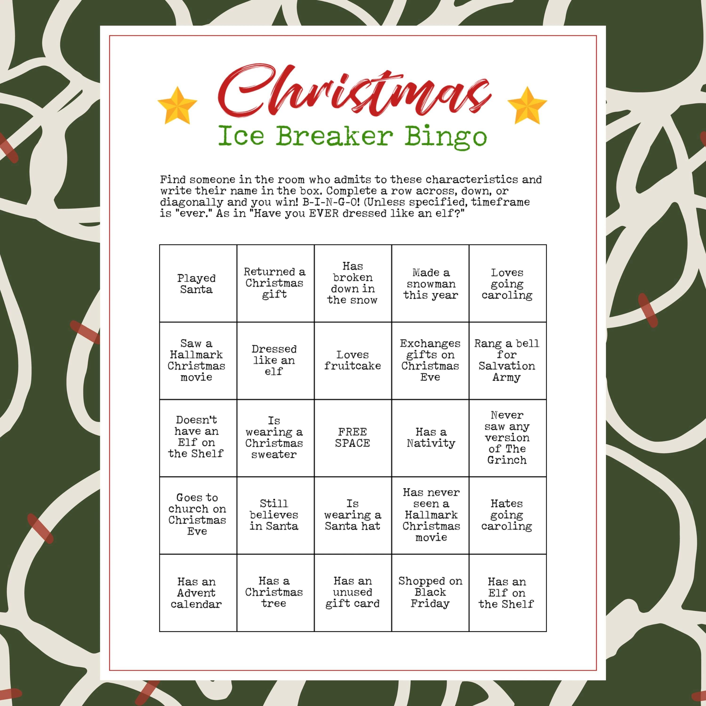 Printable Christmas Party Ice Breaker Game Human Bingo