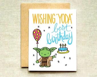 Jedi Birthday Card Etsy