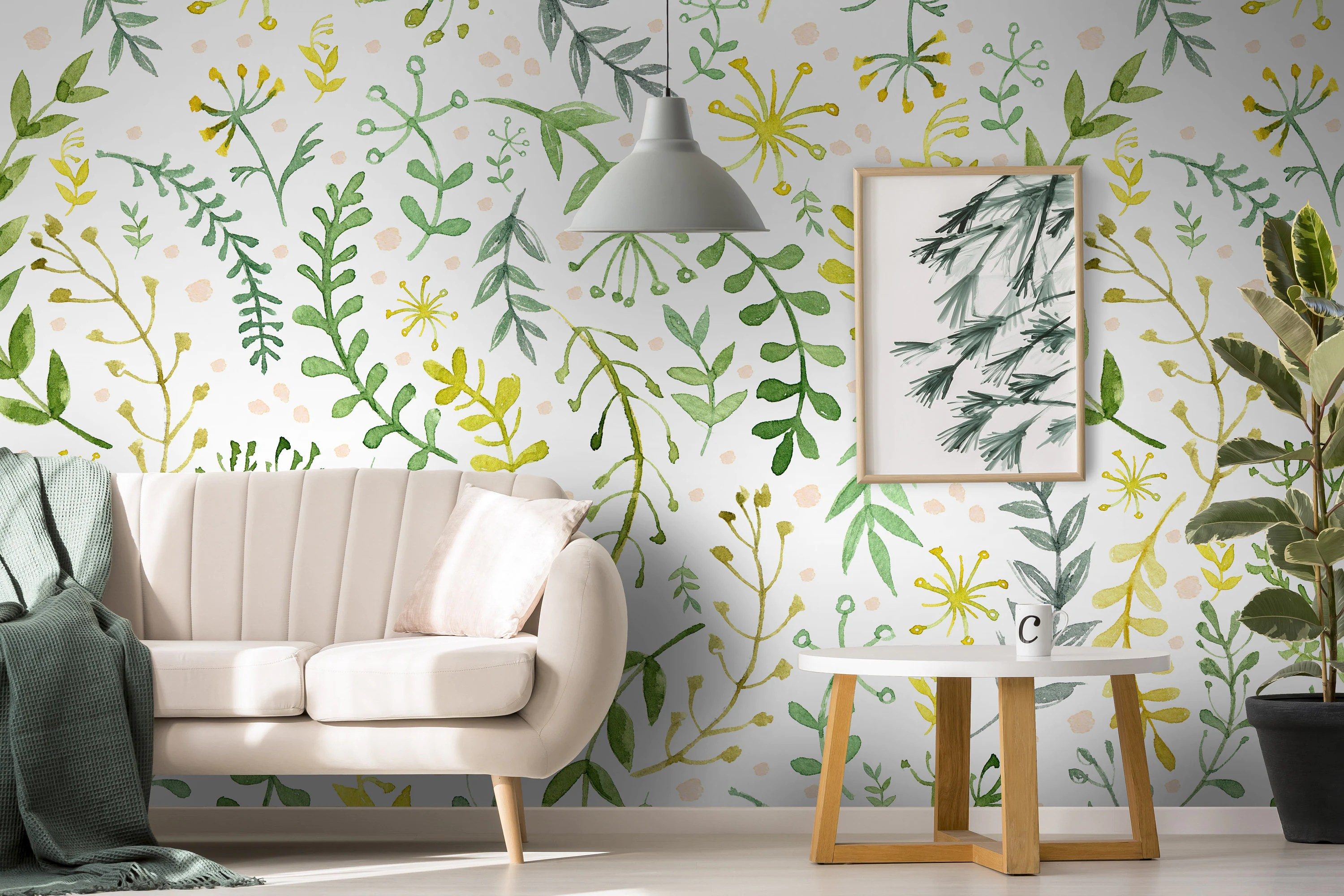 Removable Wallpaper Green Twigs Wallpaper Self Adhesive Etsy