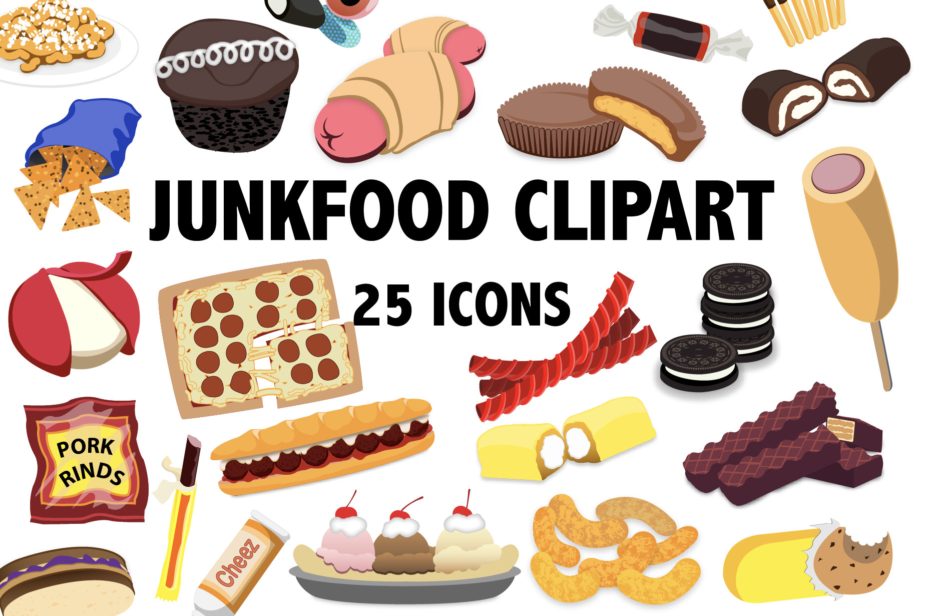 Junk Food Clipart Printable Snacks And Candy Icons