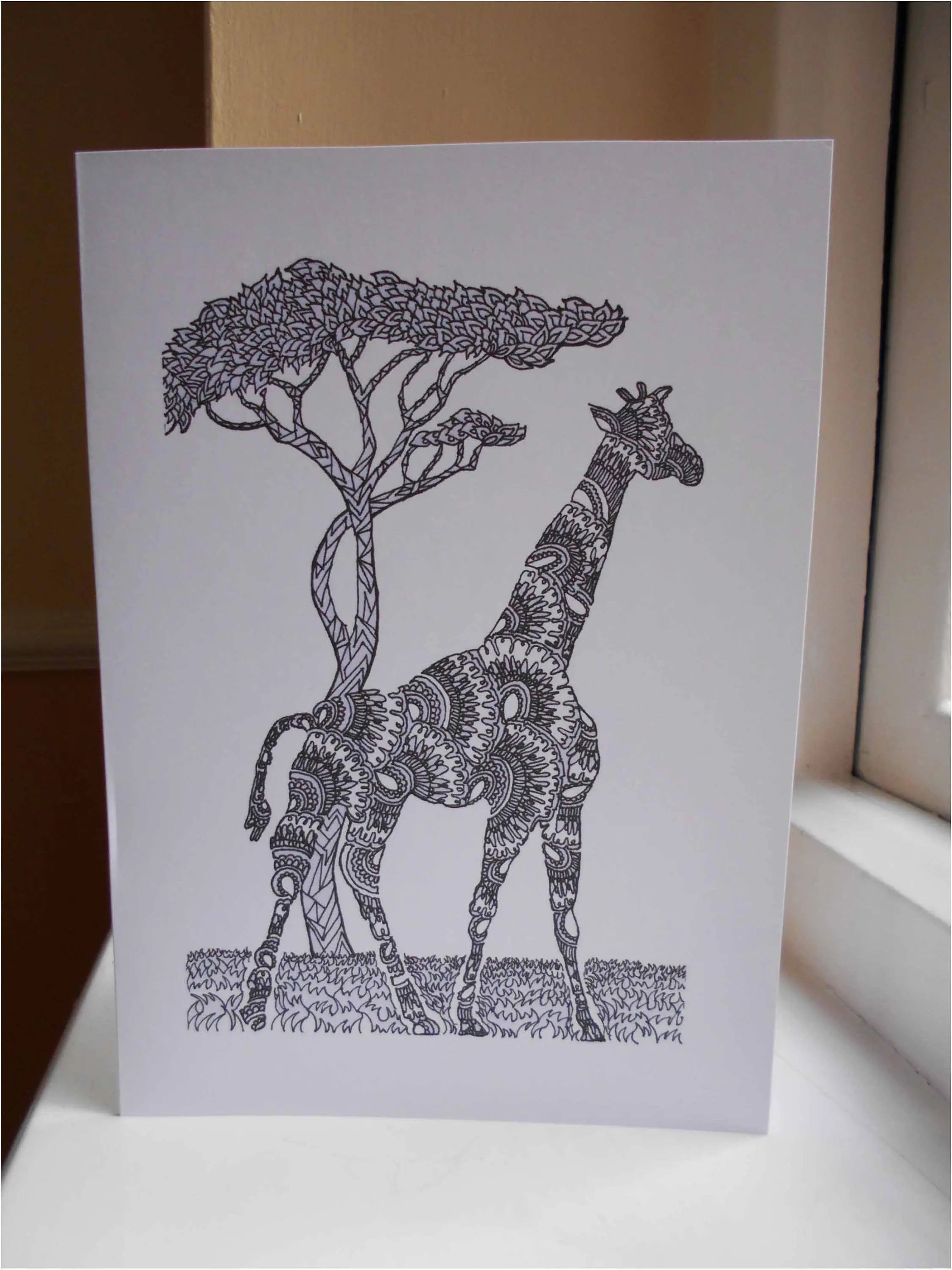 Giraffe Square Card Ready To Ship Blank Card Black And Etsy
