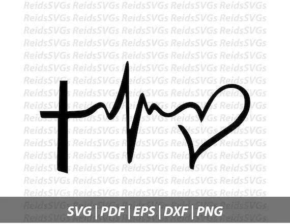 Cross Heartbeat SVG Cricut Silhouette Cutting Machines