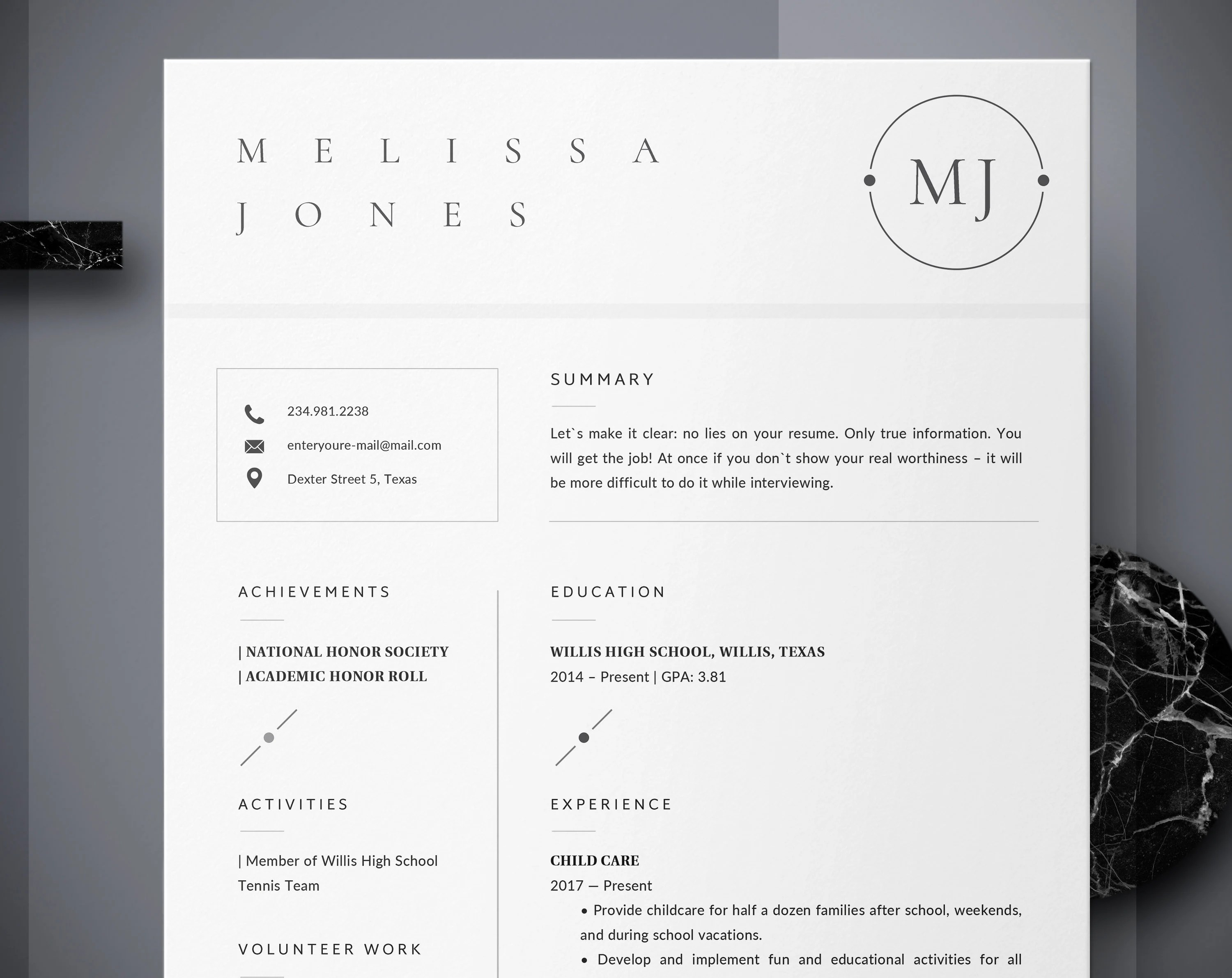 Resume template   Etsy High school student resume template for word  graduate   Grad school with  no work experience  first job resume   Creative Cv   Cover letter