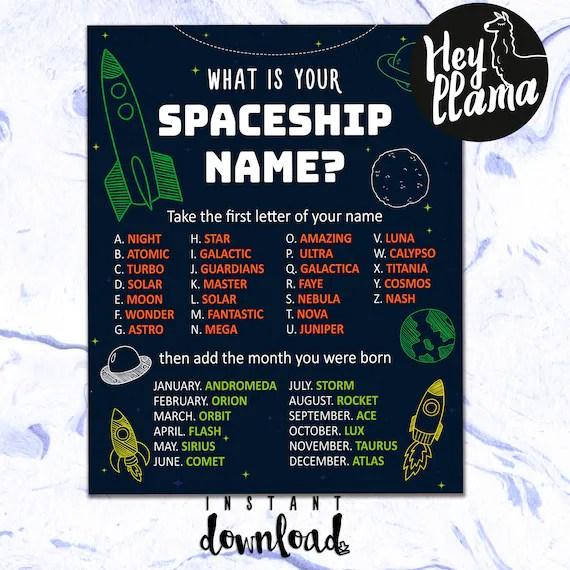 Spaceship Birthday Party Name Game Space Themed Birthday Etsy