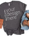 Dark Grey Heather Bella Canvas Mockup 3001 Gray Tshirt Mock Etsy