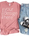 T Shirt Mockup Bella 3001 Mauve Bella Canvas Flatlay Shirt Etsy