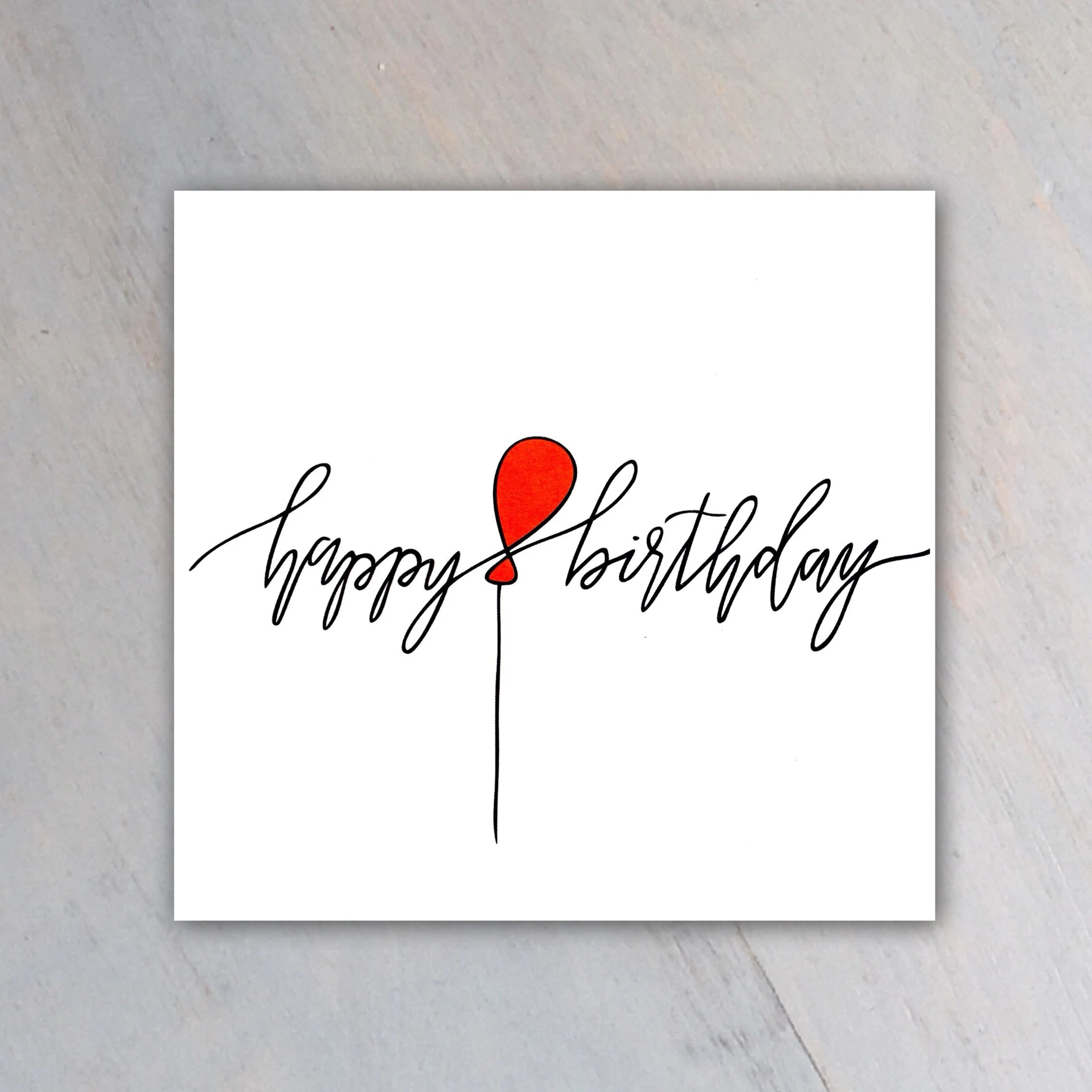 Happy Birthday Card With Red Balloon And Cursive Lettering Etsy