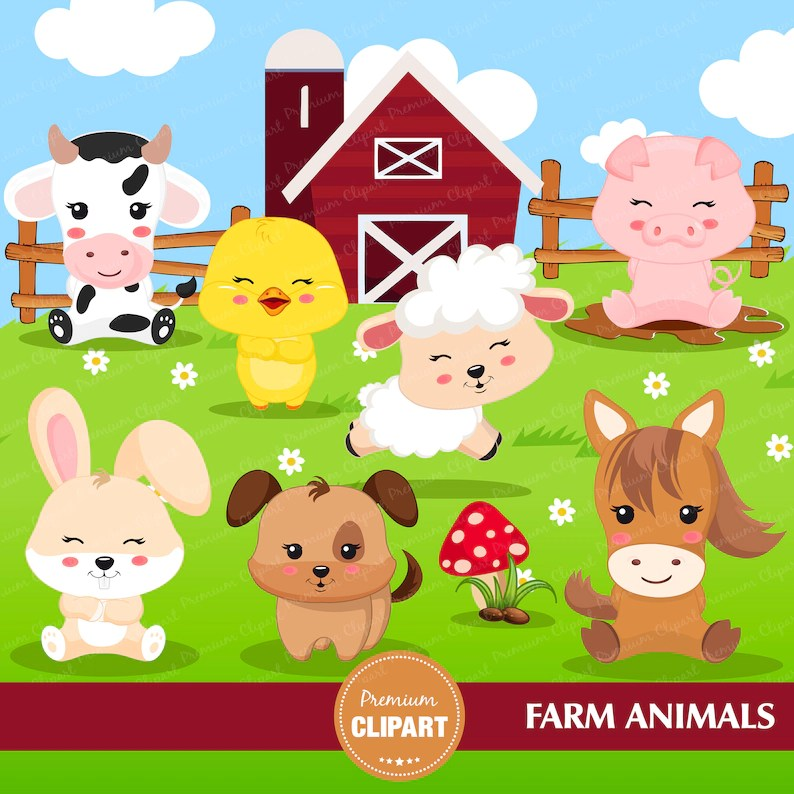 Clipart Farm Animal Clipart Ca357 Farm Animal Birthday Party Farm Party Farm Birthday Clip Art Art Collectibles Vadel Com