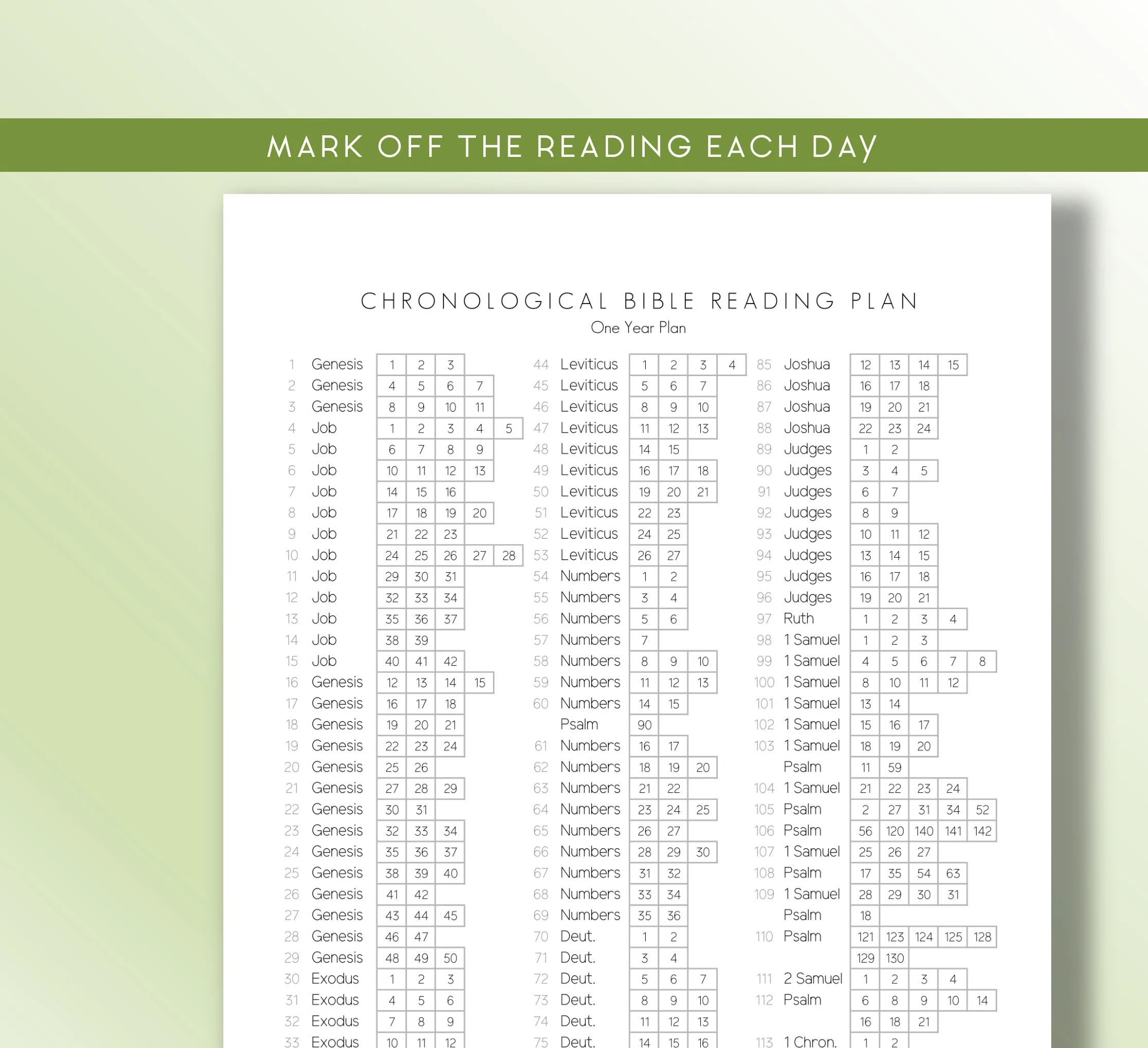 Chronological Bible Reading Plan Printable Daily Scripture Reading Plan 365 Reading Plan Christian Bible Planner A4 Letter Size