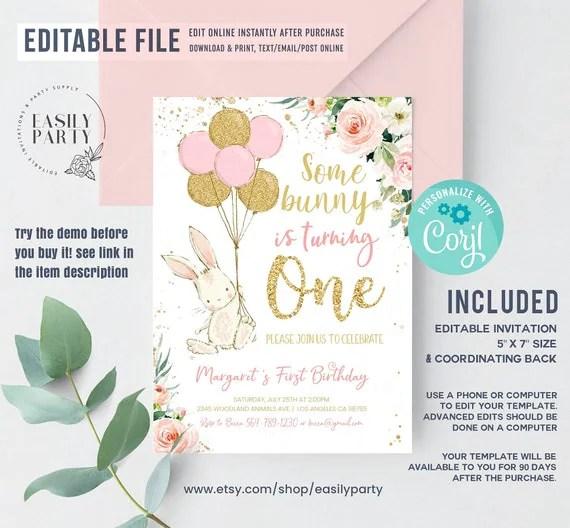 bunny birthday invitation editable