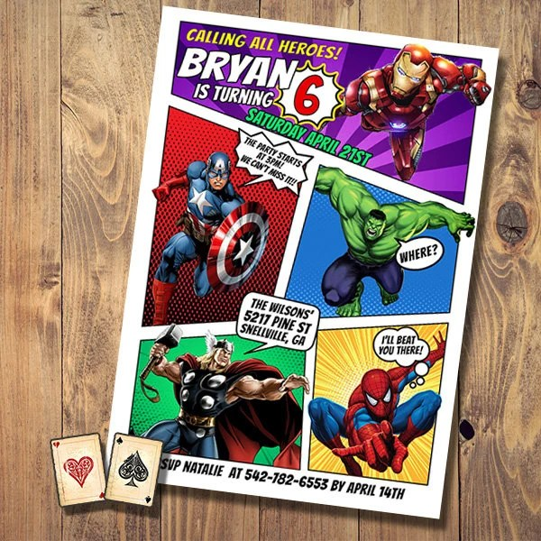 avengers invitation etsy
