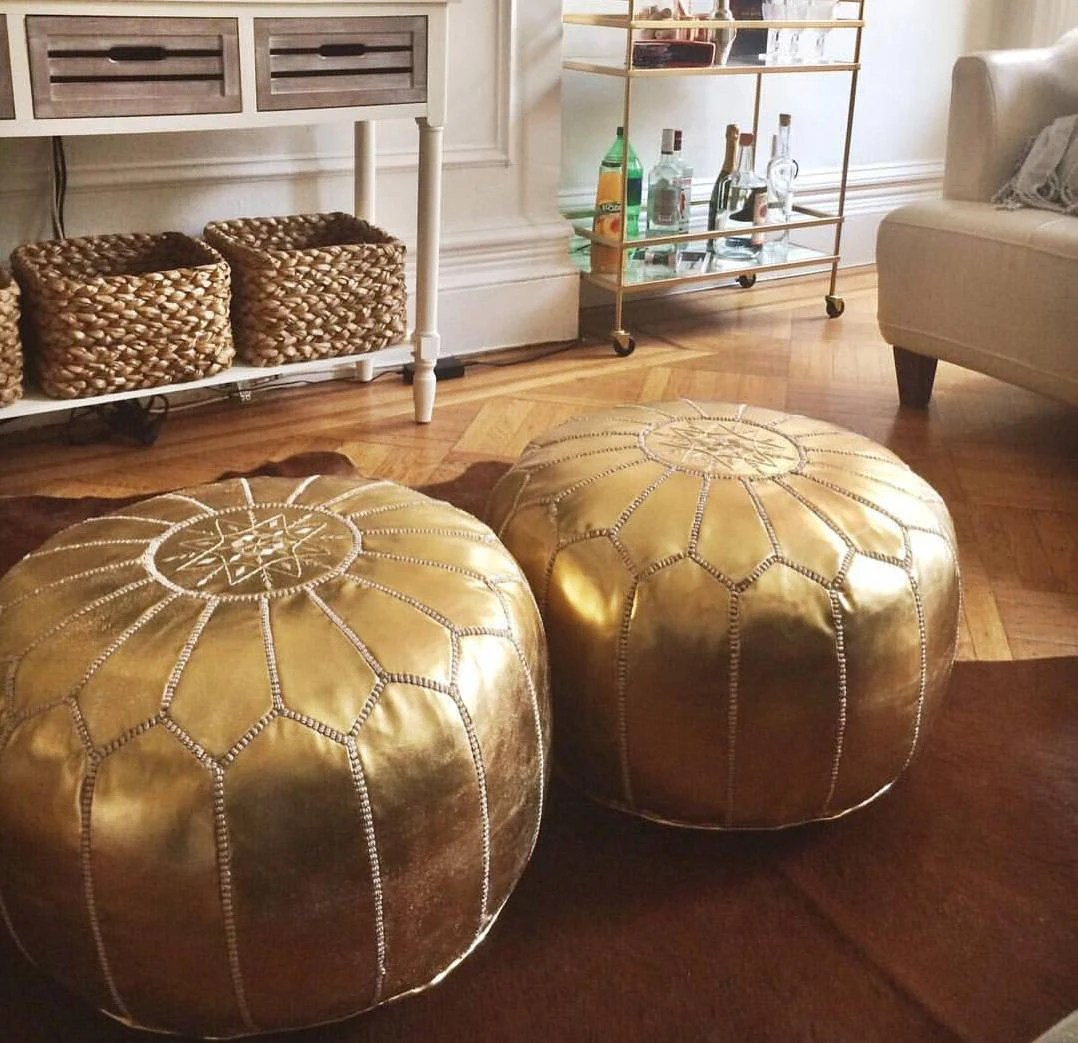 set of 2 faux leather moroccan pouffe pouf ottoman faux leather pouf gold wedding gifts home decor ottoman moroccan