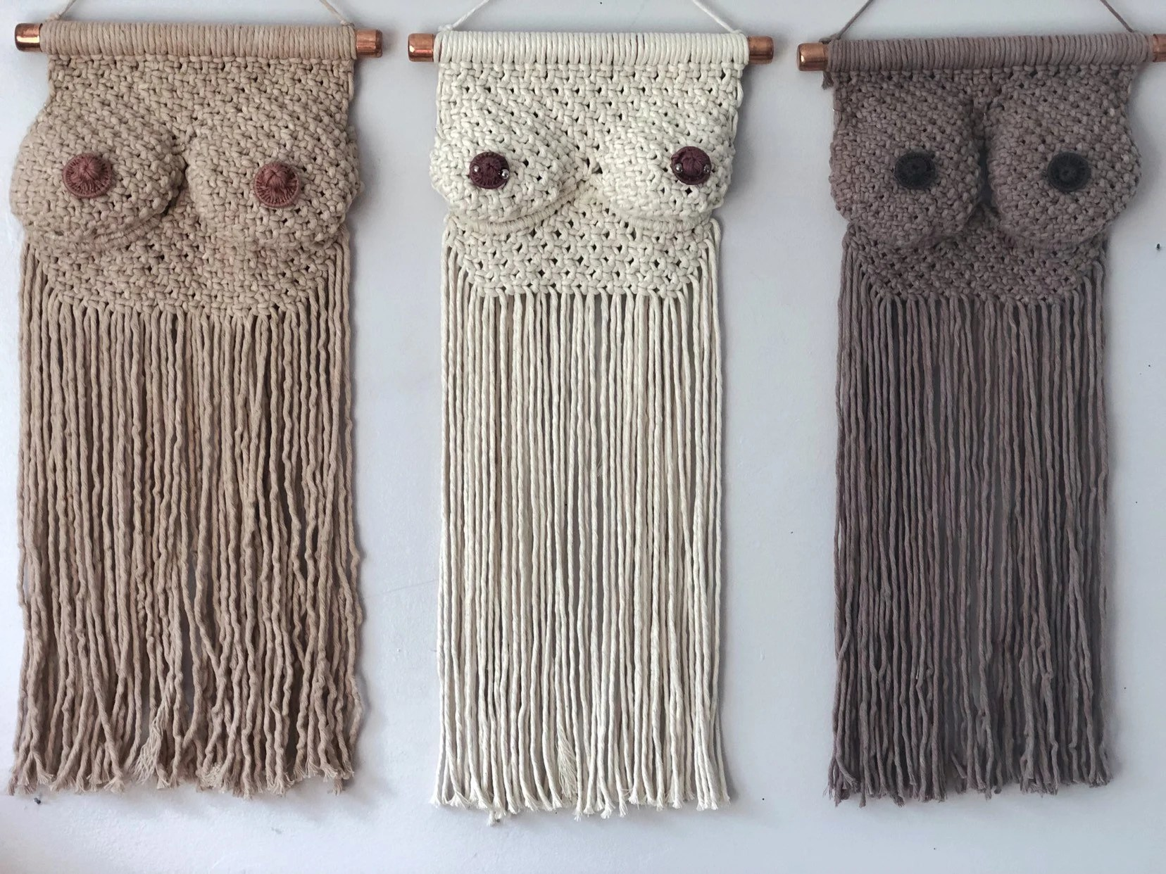Macrame Boobs/Macrame Boobies/Personalized Breast Wall Hanging/Bedroom Decor/Boudoir/Boob Art/Feminist/Goddess/Breast Cancer Support                                                                    UnfetteredCo         From shop UnfetteredCo                               5 out of 5 stars                                                                                                                                                                                                                                                          (1,416)                 1,416 reviews                                                      CA$125.00                                                                   FREE delivery