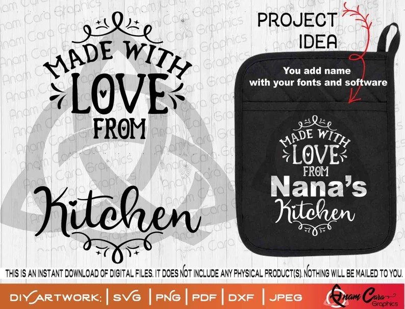 Download Made with love from ___ Kitchen SVG Cut or Print DIY Art ...