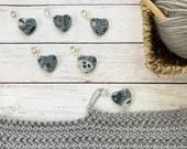 Granite Abstract Heart stitch marker for crochet & knitting