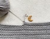 Honey - Moon stitch marker for crochet & knitting, set of 2.