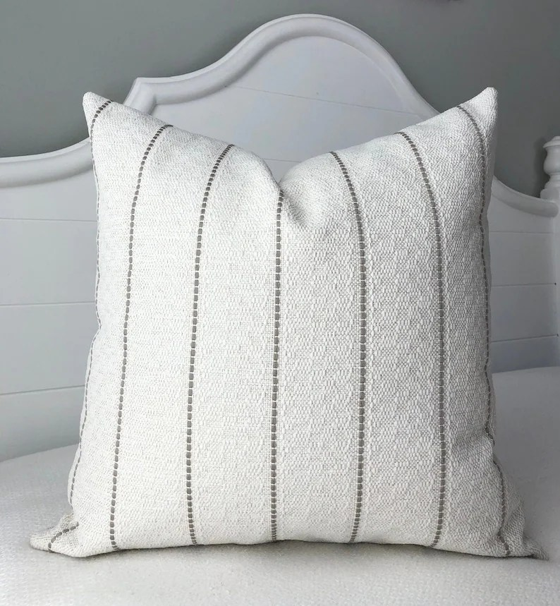 pillow covers 20x20 pillow cover striped cream pillow cover textured throw pillow covers decorative pillows by spicy nacho decor