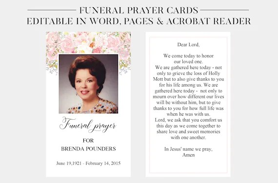 Funeral Prayer Cards Printable Funeral Cards Memorial Cards Funeral Religious Cards Memorial Prayer Card Template Word Pages Pdf