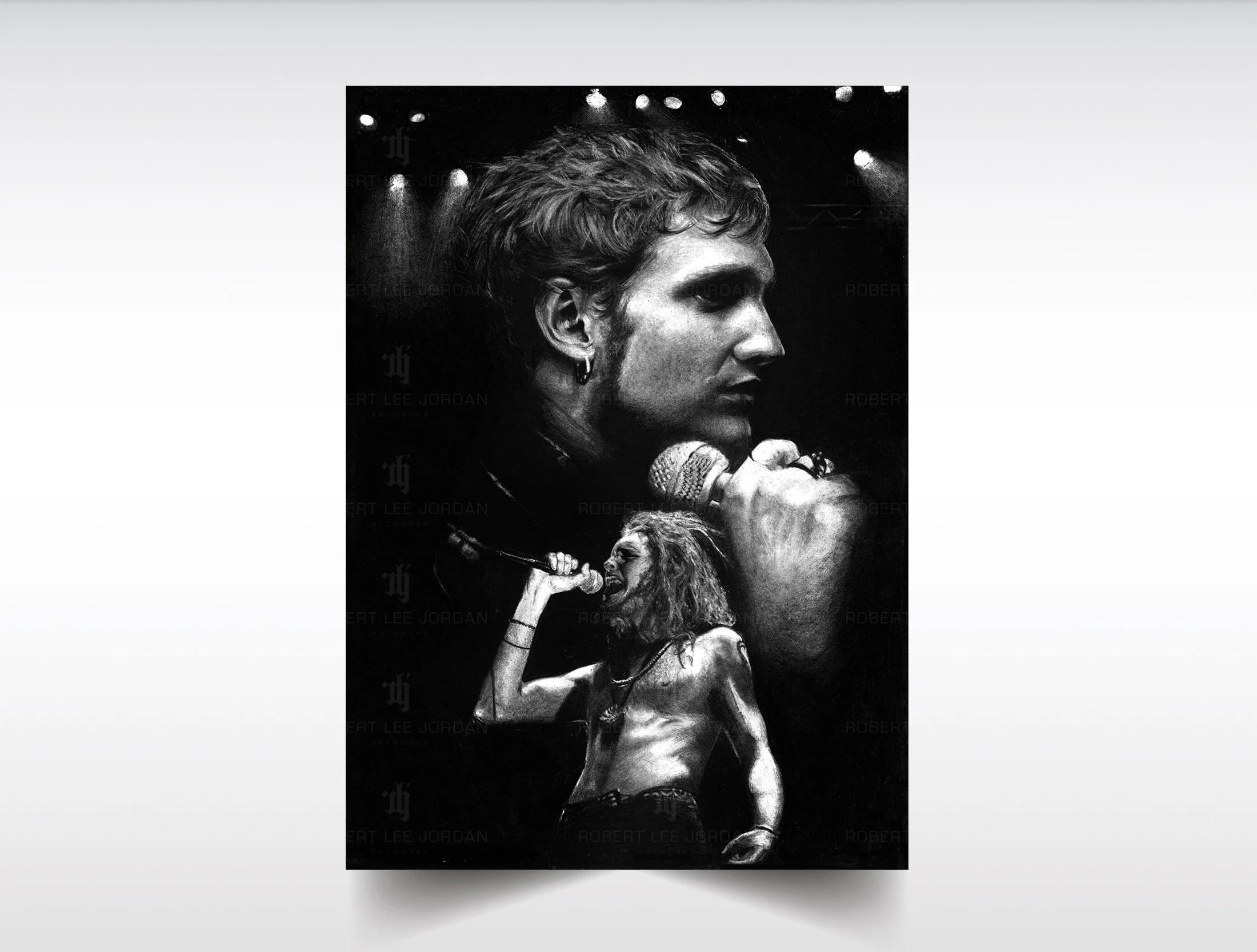 alice in chains layne drawing satin print layne staley poster grunge alternative rock n roll