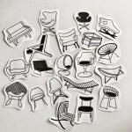 Mid Century Modern Chairs Sticker Set