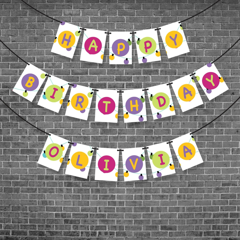Kids Birthday Banner Personalized Happy Birthday Bunting Etsy