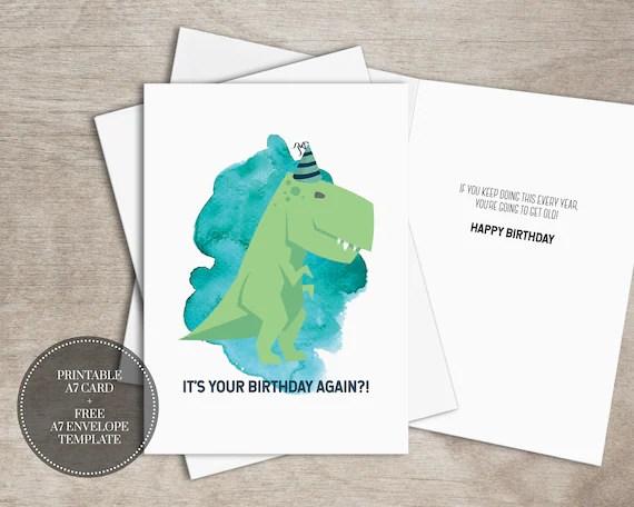 Printable Funny Dinosaur Birthday Card For Boys Instant Download Trex