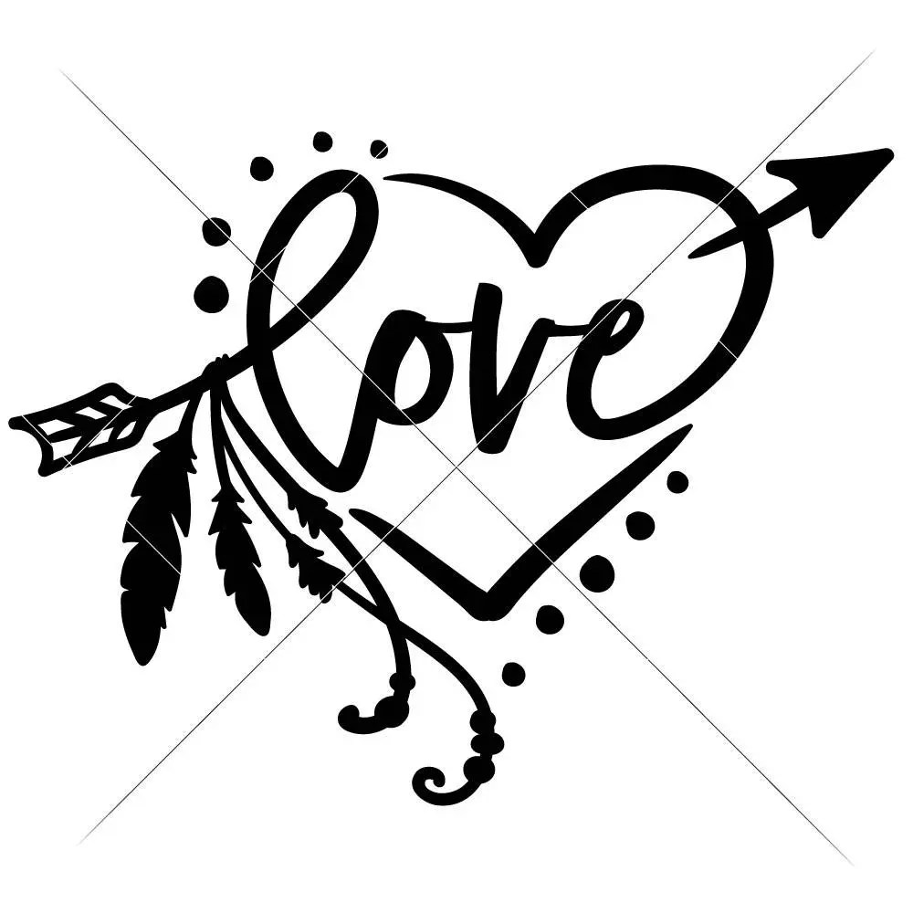 Download Love arrow with Feathers and Heart SVG eps dxf Files for ...