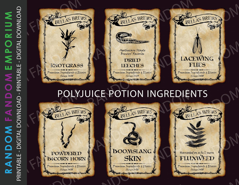 Pip1 Printable Labels 6 Polyjuice Potion Printable