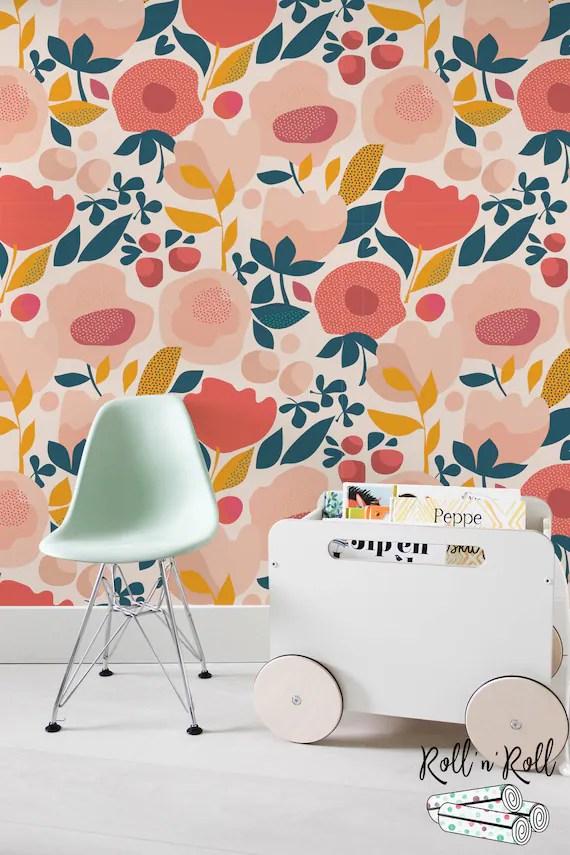 Floral Nursery Wallpaper Poppy Wallpaper Modern Floral Etsy