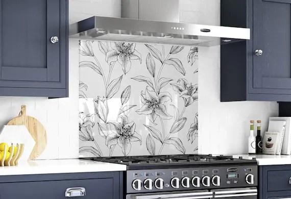 floral wall art diy backsplash kitchen decor backsplash etsy