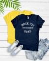 Bella Canvas 3001 Tee Shirt Mock Up Navy And Yellow T Shirt Etsy