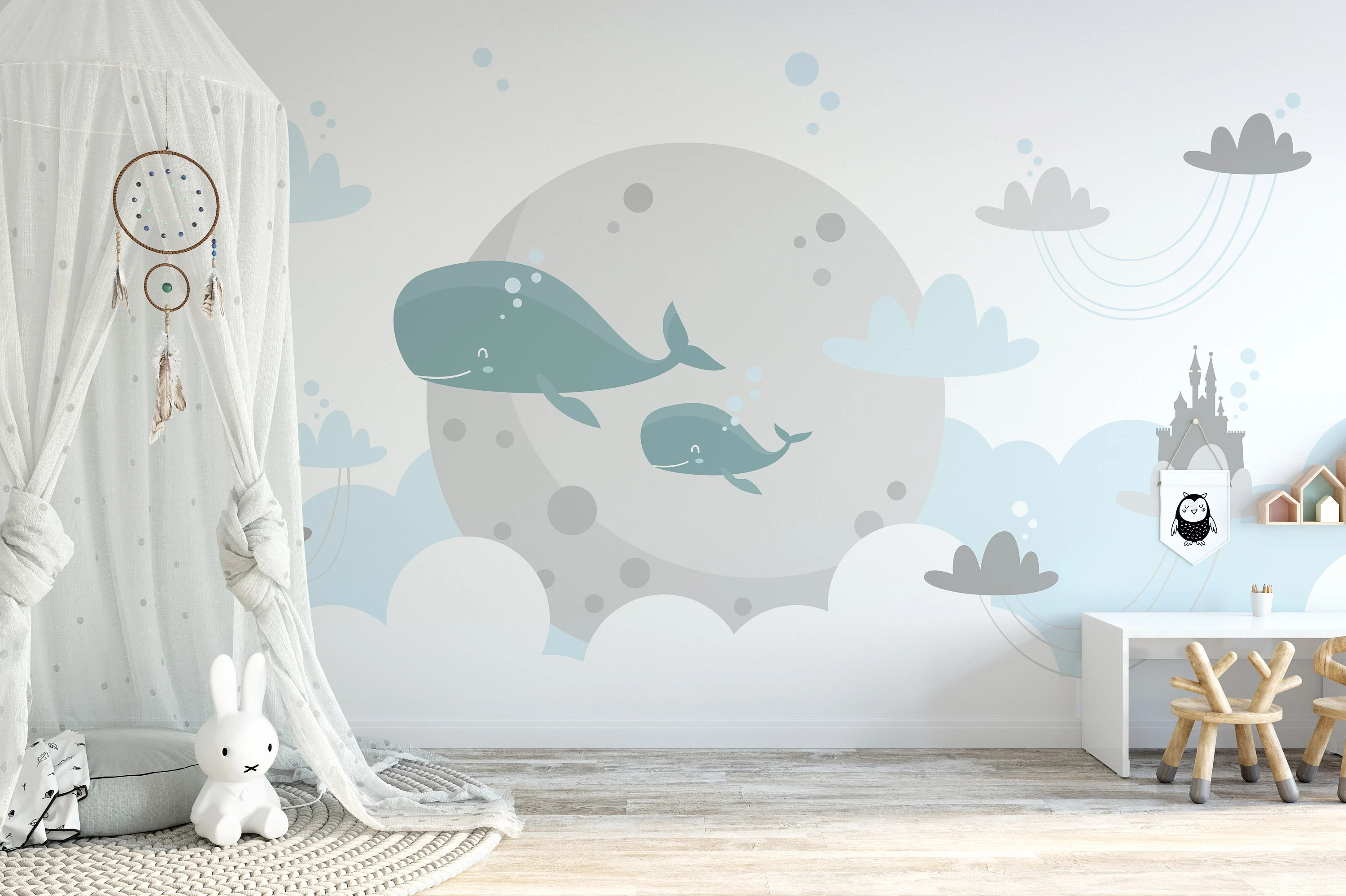 Removable Nursery Wallpaper Water Activated Temporary Stick Etsy