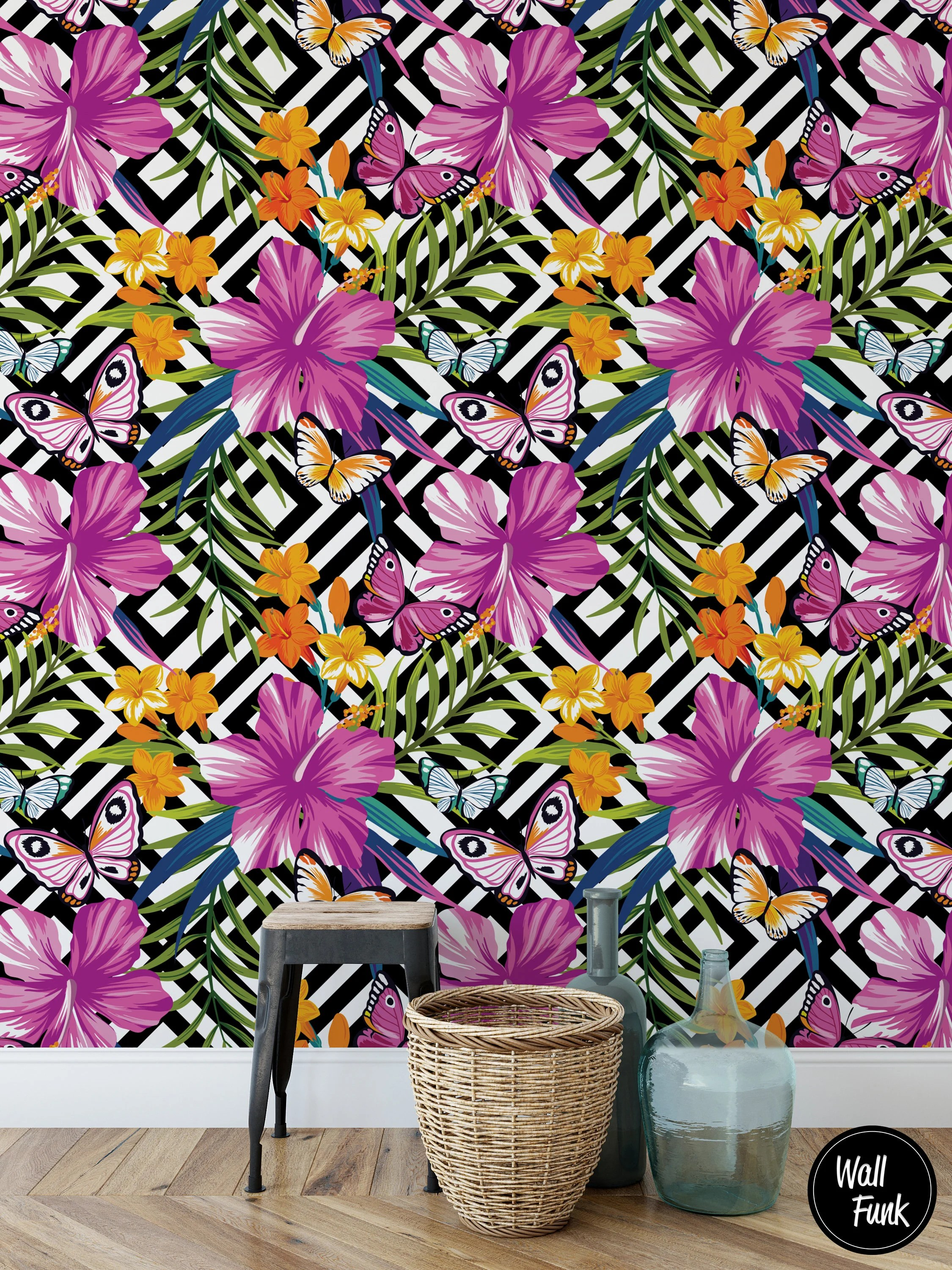 Removable Floral Wallpaper Water Activated Temporary Stick On Etsy