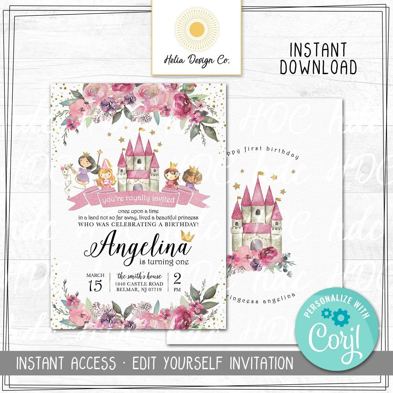 editable enchanted princess birthday