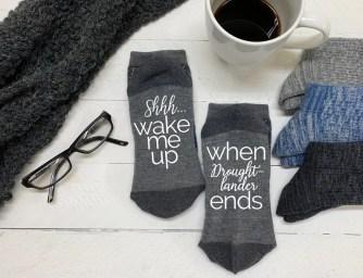 Outlander Fan Gift  Wool Blend Sassenach Socks  gray