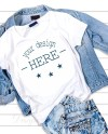 White T Shirt Mockup Template White T Shirt On A Jeans Jacket Etsy