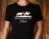 My Heart Belongs on the Trail, Horse Quote Western Horseback Riding Shirt, Gift for Horse Lovers