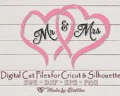Mr & Mrs in Love - for Valentine's Day, Wedding, Bride, Anniversary Digital SVG File for Cricut, Silhouette, DXF, PNG, Eps, Vector Download  Love Hearts il 170x135