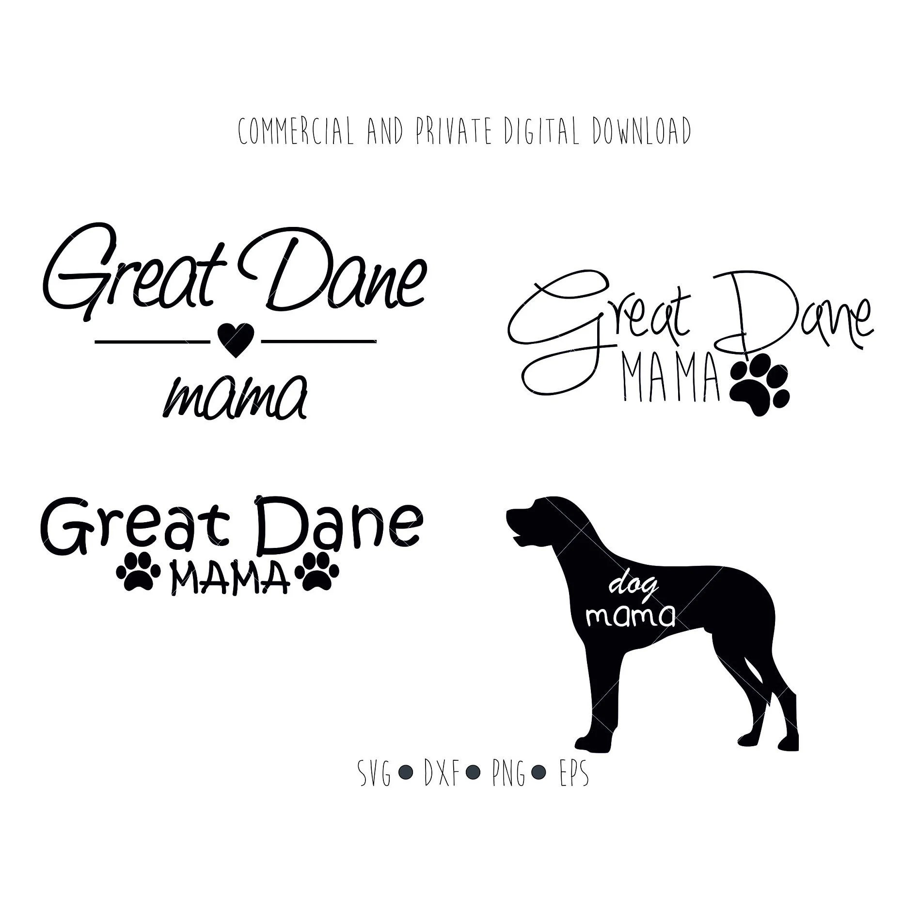 Great Dane Mama Digital File Dog Mama Paw Clipart Vector