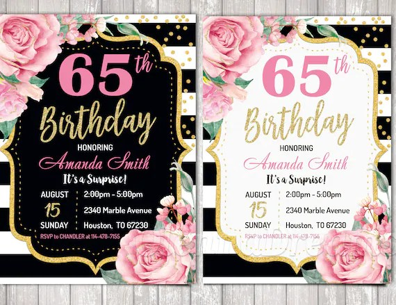 65th birthday invitations pink golg invitations rose gold and pink gold floral birthday party invitations for women any age personalized