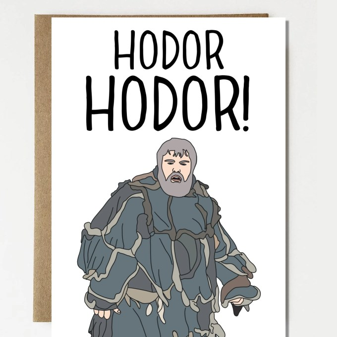 funny hodor hodor game of thrones inspired birthday card - birthday gift